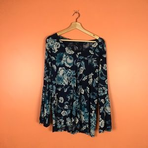 Lucky Brand | Floral Boho Bell Sleeve Top 1X